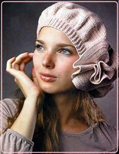 INSTANT DOWNLOAD Lovely fine yarn Crochet Beret, Hat, Slouchy Hat with a large Deco flower. Crochet PATTERN