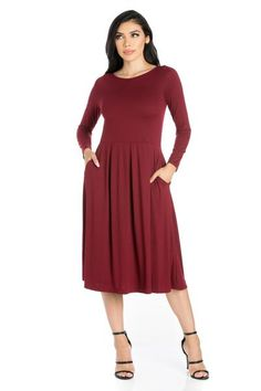 40ec58a7962 24seven Comfort Apparel Long Sleeve Fit and Flare Midi Dress with Pockets