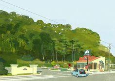 MOS BURGER モスバーガー #hamburger #food #love #happy #tree #illustration #illustrator #japan #mosburger #road #street #green #delicious