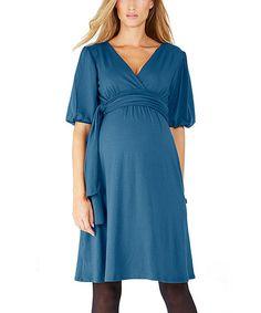 Bleu Canard Sacha Maternity Surplice Dress #zulily #zulilyfinds