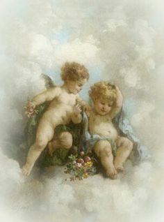 Cherubs in the Clouds Landscapes Giclee Print - 46 x 61 cm Images Victoriennes, Vintage Illustration, I Believe In Angels, Angel Aesthetic, Angels Among Us, Angel Pictures, Angels In Heaven, Heavenly Angels, Wow Art