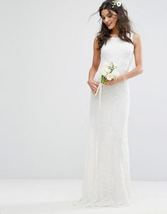 Amelia Rose Bridal Cowl Back Maxi Dress In All Over Embellishment
