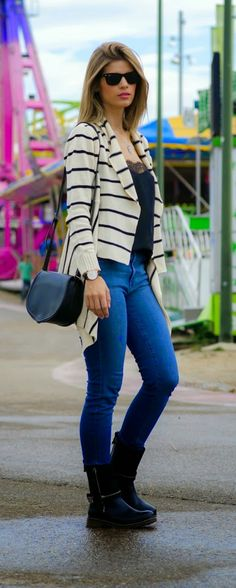 Stripes Maxi Cardigan + Skinny Denim