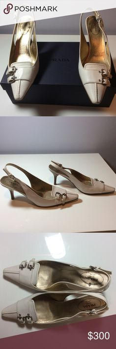 Selling this Prada sling back pumps.  Bone color leather in my Poshmark closet! My username is: ccurtis2000. #shopmycloset #poshmark #fashion #shopping #style #forsale #Prada #Shoes