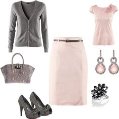 Normally if there are heels in the getup I won't select it as something I would wear but I love pink and grey together...