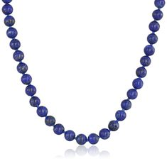 """Sterling Silver 6mm Lapis Lazuli Necklace, 24"""""""