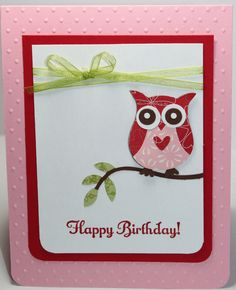 Owl Birthday Card Stampin Up Handmade.