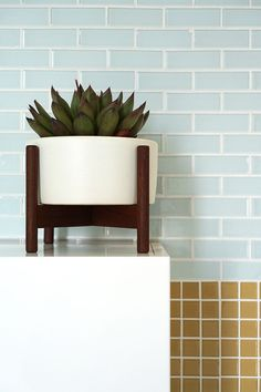 Pretty pale blue grey tile paired with ochre mosaic tile for a mid century modern inspired vibe