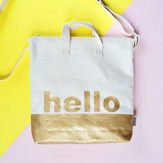 """DIY Gold Dipped """"Hello"""" Bag. An easy and stylish bag kids and adults can make together!"""