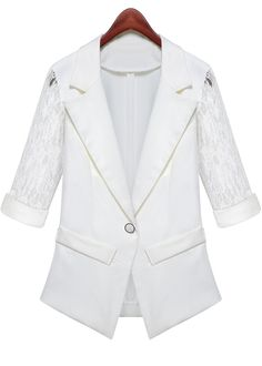 White Notch Lapel Half Sleeve Lace Blazer - Sheinside.com