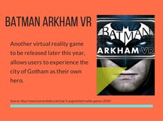BATMAN ARKHAM VR Another virtual reality game to be released later this year, allows users to experience the city of Gotha. Augmented Reality Games, Virtual Reality Games, Batman Arkham, Mobile Game, Vr, City, Gotha