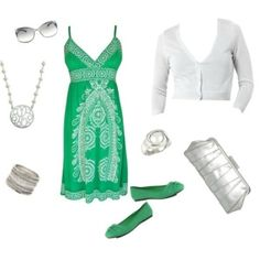 Green Silver and White
