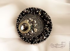 """Items similar to Brooch-pendant """"The Birth Of The Universe"""" / Handmade beaded black with silver brooch and pendant on Etsy Bead Embroidery Jewelry, Beaded Embroidery, Hand Embroidery, Beaded Jewelry, Beaded Brooch, Silver Brooch, Flower Arrangement Designs, Tribal Fusion, Butterfly Flowers"""