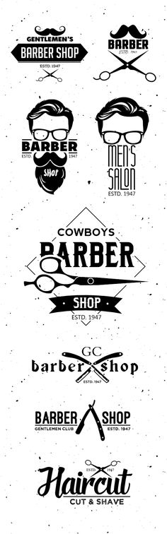 Barber Shop Logo Templates #vintagelogo #barbarlogo #beard #freepsdfiles #freebie #logos #mustache #psdbadges #salon #scissors