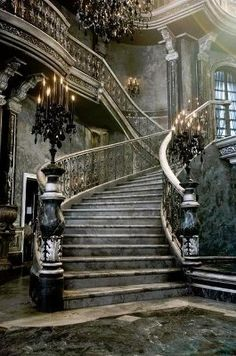 Elegant staircase in an abandoned mansion