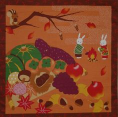 Small Size Cotton 'Rabbits and Squirrel at by kyotocollection (Craft Supplies & Tools, Fabric, furoshiki, cotton, Japanese fabric, textiles, quilting, sewing, rabbits, bunnies, squirrel, harvest, Thanksgiving, asian, panel)