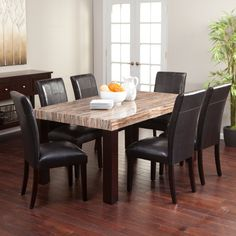 7 Pc Marble Top Dining Table Set