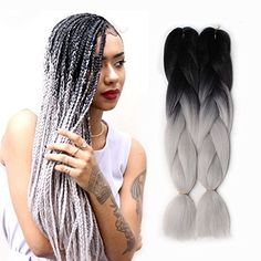 Motivated S-noilite 24 One Piece Synthetic Ombre Kanekalon Braiding Hair Crochet Braids Hairstyles Hair Extensions Silver Gray Black Soft And Light Jumbo Braids Hair Braids