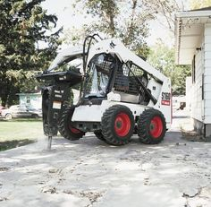 Bobcat's S160 pulls its own version of a wheelie while using the breaker attachment. The S160 has an operating load of 1,600 pounds.    Full specs:  http://www.specguideonline.com/product/bobcat-s160    #construction #equipment #skidsteers