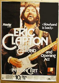 Eric Clapton Concert at Greatwoods, 1995 Rock Posters, Band Posters, Music Posters, Blues Rock, Rock Music, My Music, Music Pics, Music Stuff, Music Videos