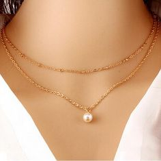 This Pearl 2 Layer Chain Necklace will make you stand out any time of the day…