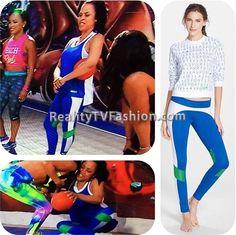 #ShaunieOneal's Blue, White, Green #Colorblock #Leggings #BBWLA