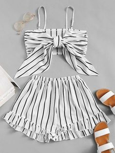 Knot Front Striped Cami With Shorts - Fashion Women Men Casual Classy Trends Summer Autumn Winter Spring Fall Outfit Monochromatic Cute Teen Outfits, Cute Comfy Outfits, Teenage Outfits, Teen Fashion Outfits, Cute Summer Outfits, Short Outfits, Outfits For Teens, Stylish Outfits, Fashion Women