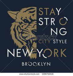 Tiger t-shirt print design. New York City typography. Tee graphics. Vector illustration