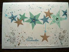 schnelle Karte mit Stempelsets Simply Stars & Gorgeous Grunge (Bermudablau, Savanne & Aquamarin)