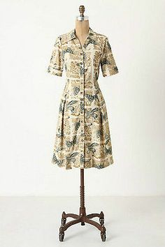 ANTHROPOLOGIE GIRLS FROM SAVOY ALARY SPARROW BUTTERFLY PRINT DRESS SIZE 12