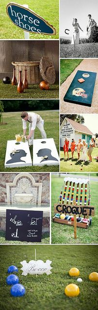 Outdoor Wedding Games while folks are waiting for wedding party at reception Outdoor Wedding Games, Lawn Games Wedding, Wedding Games For Guests, Wedding Reception Games, Outdoor Games, Wedding Backyard, Reception Ideas, Backyard Games, Reception Activities