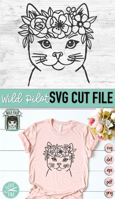Flower On Head, Cactus Vector, Flower Svg, Animal Faces, Textiles, Cat Face, Floral Crown, Textured Background, Cutting Files