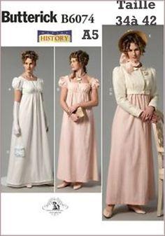 nouveau Patron Historique Butterick B6074 A5 - Taille France 34 à 42- robe, veste et sac à main période REGENCE  1795