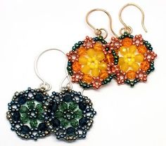 Video Tutorial on beaded circle Earrings using hexagon weave by gwenbeads;