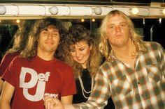 Slayer drummer Dave Lombardo, Teresa Lombardo, and Jeff Hanneman, Salinas, California