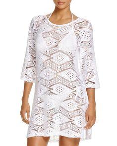 4632e931ab J. Valdi Diamond Lace Tunic Swim Cover Up White Size Medium NWT. Beach ...