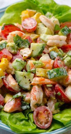 Greek Yogurt Shrimp, Avocado and Tomato Salad | iFOODreal