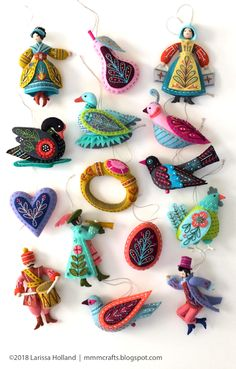 mmmcrafts - the entire series of Twelve Days ornaments shown together! Some reflections about that on the blog.