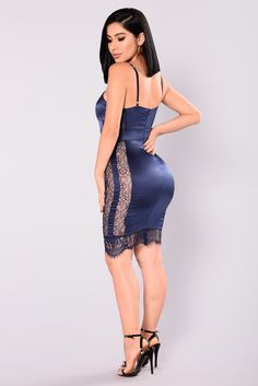 Available in Navy and Burgundy Stretch Satin with Stretch Lace Midi Length 97% Polyester 3% Spandex
