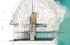 xt architecture studio | inhabitable slot Architectural Section, Architectural Presentation, Architectural Drawings, Architecture Site Plan, Section Drawing, Planer, House Plans, Layout, Studio