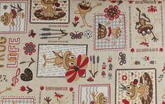 Stoff Blumen - 1016 Baumwolle Köper lustige Frösche Beige Rot  - ein Designerstück von pretty-child bei DaWanda