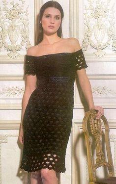 crochet black fishnet dress and and necklace | make handmade, crochet, craft