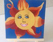 Smiley Sun, Mini 4x4 with easel, abstract acrylic original happy art, gift