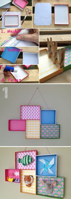 Use shoe box covers and wrapping paper, put pictures inside, cute and cheap frame idea