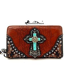 Montana West Turquoise Stone Cross Wristlet Wallet Brown >>> More info could be found at the image url.