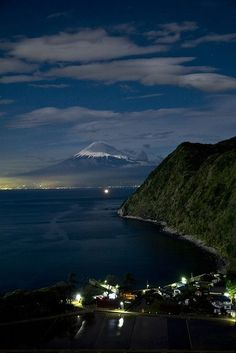 Mt Fuji at night, Japan