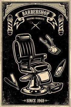 Barber chair and tools on grunge background. Design element for emblem, sign, poster, card, banner. Barber Poster, Barber Logo, Barber Shop Interior, Barber Shop Decor, Art And Illustration, Barber Store, Barber Business Cards, Grunge, Rockabilly Art