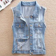 8375571637e78 Brand Good Quality Denim Vest Women Blazer Coats Fall Jeans Vintage  Waistcoat Sleeveless Street Pocket Jacket