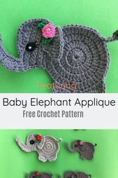 Adorable Crochet Elephant Applique Free Pattern - Knit And Crochet Daily- adorab .Adorable Crochet Elephant Applique Free Pattern - Knit And Crochet Daily- adorable applique crochet daily elephant Free Reduced summer skirts for Crochet Applique Patterns Free, Applique Design, Crochet Motif, Knitting Patterns Free, Crochet Flowers, Free Pattern, Baby Patterns, Crochet Appliques, Crochet Butterfly