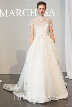 Brides.com: . Wedding Dresses for Hourglass Body Types: Marchesa. The pin-tucked waistline of this Marchesa stunner plays up your small midsection in the most subtle way.  Chantilly lace ball gown wedding dress with a silk faille skirt, embroidered high-neck bodice, and short sleeves, Marchesa
